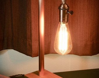 Brushed Copper Lamp with Edison Bulb