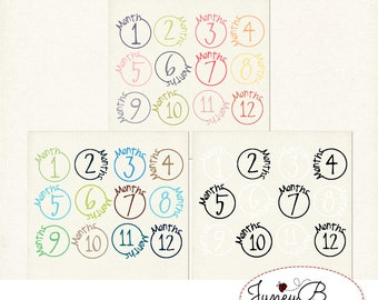 Numbered Month Stamps Bundle, Girly, Boy and Black & White, Instant Download, Digital Scrapbook Kit