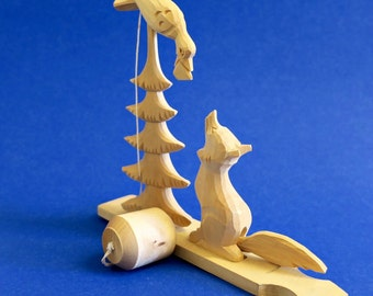 Vintage Russian Wooden Toy - Wolf and Bird