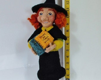 Polly Dora, handmade, needle felted, witch, witch doll, felted doll, OOAK, 100% wool fiber, art doll, collector's doll