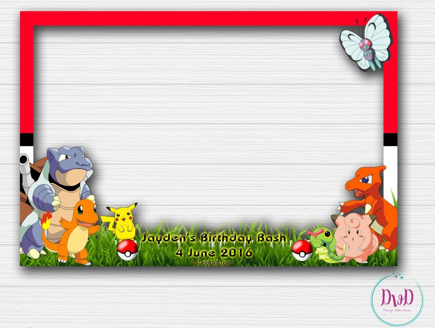 personalized pokemon go 4x6 inches photo booth frame pokemon go birthday party pokemon go photo props digital file