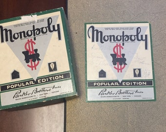 1935, 1946, Rare, Vintage Monopoly Popular Edition Board Game by Parker Brothers.