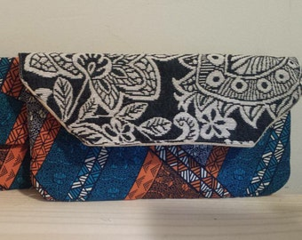 custom damask and Ankara cotton clutch