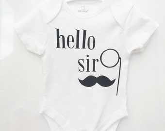Hello Sir Black Print Vest Bodysuit Onesie