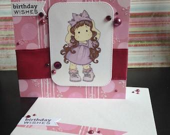 Tilda party hat Birthday Card - Purple