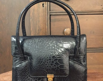 1960's Black Faux Leather Handbag by Creations by International
