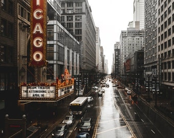 Chicago Photography Print - Chicago Theatre Marquee in Rain