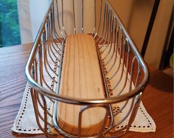 Vintage Bread Basket~Atomic Basket~ Long Bread Basket~Industrial Kitchen Metal Bread Basket~French Baguette Bread Basket