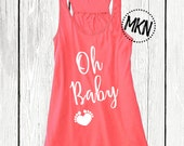 Oh Baby Tank. Pregnancy Announcement Tank. Maternity Tank.
