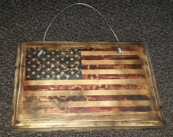American Flag on Wood with wire hanger