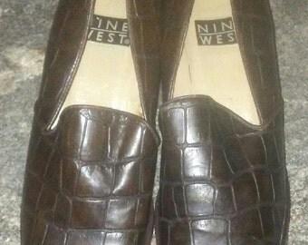 Vintage faux crocodile loafer nine west
