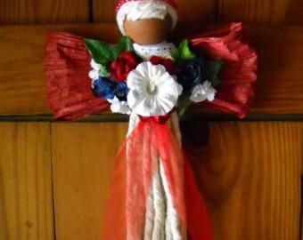 Angel Bouquet, Wedding Angel, Angel Wings, Flower Bouquet, Guardian Angel Wall Hanging, Dorm Decor Wall Hanging, Angel Flower Arrangement