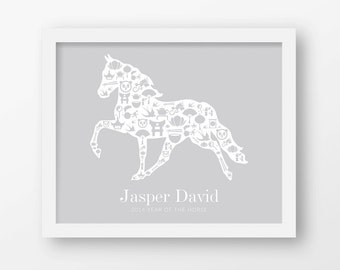 Year of the horse, 2014, Chinese zodiac, Custom name prints, Personalized name, Birthday gift, Newborn gift, Baby gift, Nursery wall art