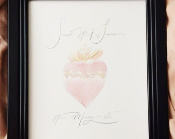 Sacred Heart Watercolor Print