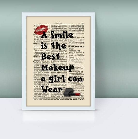 A Smile Is The Best Makeup A Girl Can Wear Quote On Vintage Dictionary Page