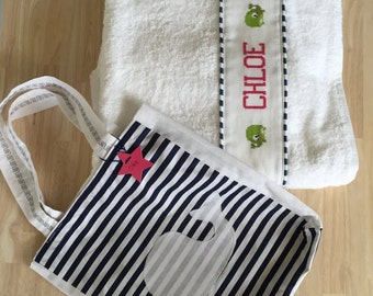 Beach towel with beautiful bag