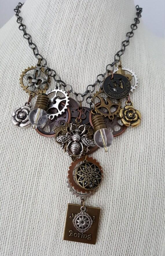 Victorian Goth steampunk necklace and bracelet set