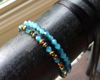 Blue and Gold Mix Stretch Bracelet