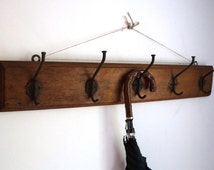 Industrial locker room wood coat rack, 5 big forged nails hooks, rustic home, cabin, cottage decor, vintage architectural salvage