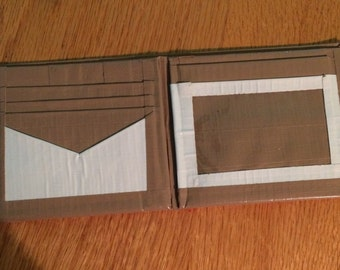 Beige and white wallet