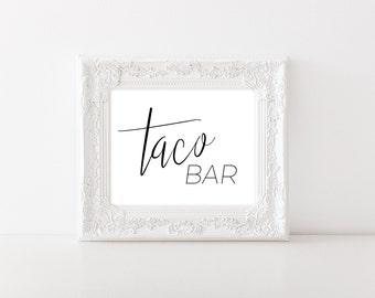 Taco Bar Sign - Fiesta Decorations - Fiesta Party - Fiesta Bridal Shower - Taco Sign - Fiesta Wedding Printable - Wedding Reception Decor