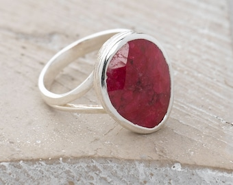 Handmade, Sterling Silver 925 Faceted Ruby Ring
