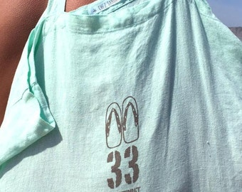 Personalized individually washed linen beach bag