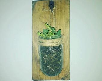 Mason jar, wall hanger, reclaimed wood - planter, sconce, vase
