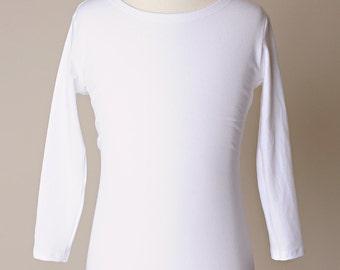 Brenna Bamboo Clothing, Bamboo T-shirt, White Girl Shirt, Cap Sleeve, Girl Shirt, Girl White Top, Quartler Length Sleeve