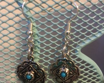 Silver and Turquoise Aztec Earrings