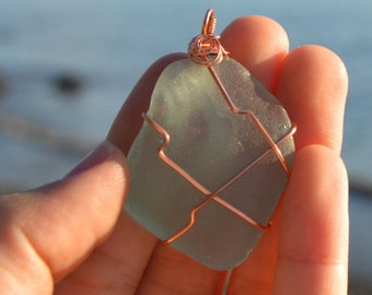 Aqua Blue Sea / Beach Glass Necklace