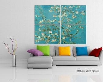 Almond Blossom Canvas Panels Print Van Gogh Framed Wall Art Picture Blooming Almond Tree Vincent Van Gogh Reproduction Sakura Home Decor