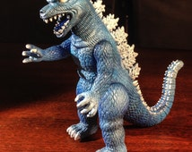 Vintage Blue Godzilla Toy - Repainted - Airbrush - Hand Painted - Retro