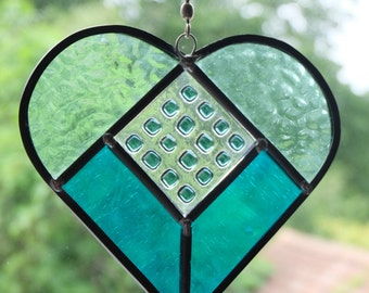 Turquoise stained glass heart suncatcher