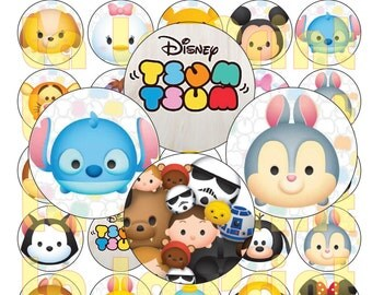 35 Tsum Tsum Digital Party Stickers Circles size 1'' and 1.5''  sheet A4 (8.5''x11'') Bottle Cap images Cupcake Toppers Disney