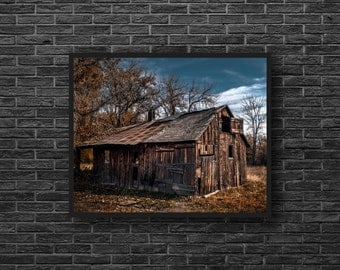 Old Barn Photography - Wooden Barn Print - Ruin Barn Photo - Abandoned House Photo - Old House Print - Wooden House - Abandoned Wall Decor