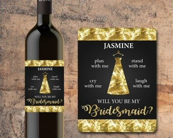 Will You Be My BRIDESMAID WINE BOTTLE Label Faux Gold, Gift, Favor, Invite, Glitter