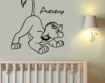 Lion King Wall Sticker Simba Custom Name Decal Vinyl Art Disney Decorations for Home Teen Kids Boys Room Bedroom Nursery Decor ling17