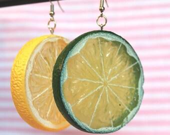 Lemon and Lime Fruit Earrings