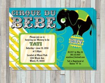 Cirque De Bebe Shower Invite