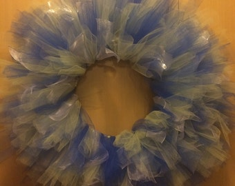 Blue and yellow tulle wreath