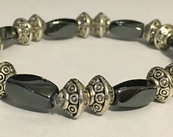 Hematite Magnetic Twist Beaded Bracelet