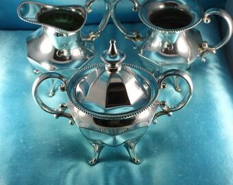 Antique Victorian JAMES TUFTS 4507 Quadruple Silverplate Cream Sugar Spooner Set