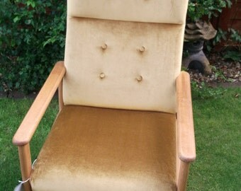 Vintage Retro Reupholstered Gold Velvet G Plan Style Fire Side, Bedroom, Lounge  Arm Chair