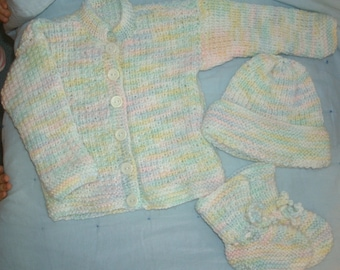 """Baby Sweater Set - """"Precious in Pastel"""""""