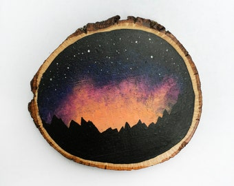 Lights & Mountains - Wood Slice Painting