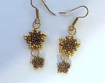 Star Topaz Glass Seed Bead Earrings.