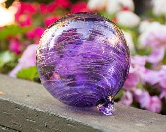 Ornament Hand Blown Art Glass Witch Ball Friendship Ball Purple Violet