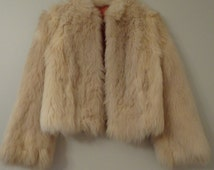 1960's Cream Faux Fur Jacket - XS - Fluffy Coat