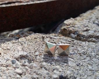 Sterling Silver Pyramid Stud Earrings